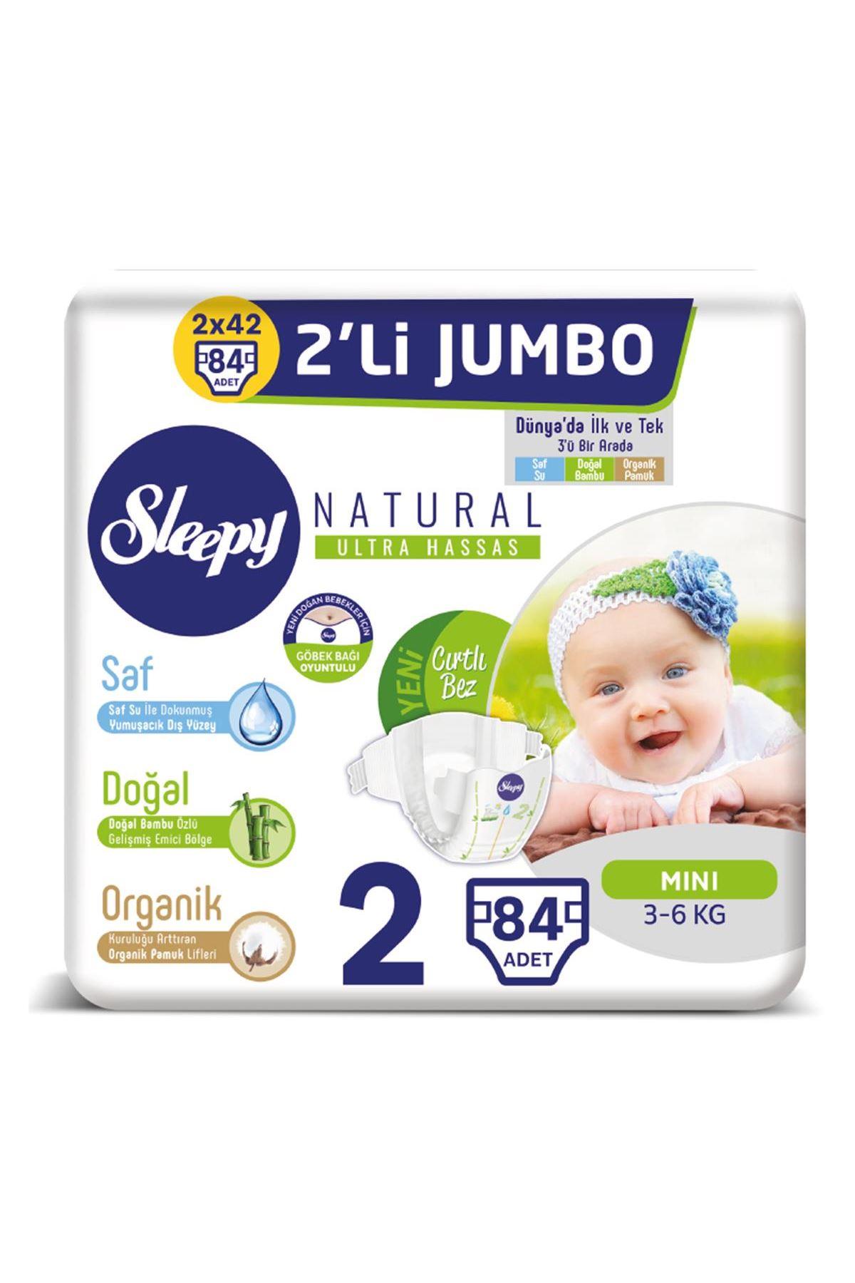 Sleepy Natural Bebek Bezi 2li Jumbo 2 Beden 3-6 Kg 84 Adet