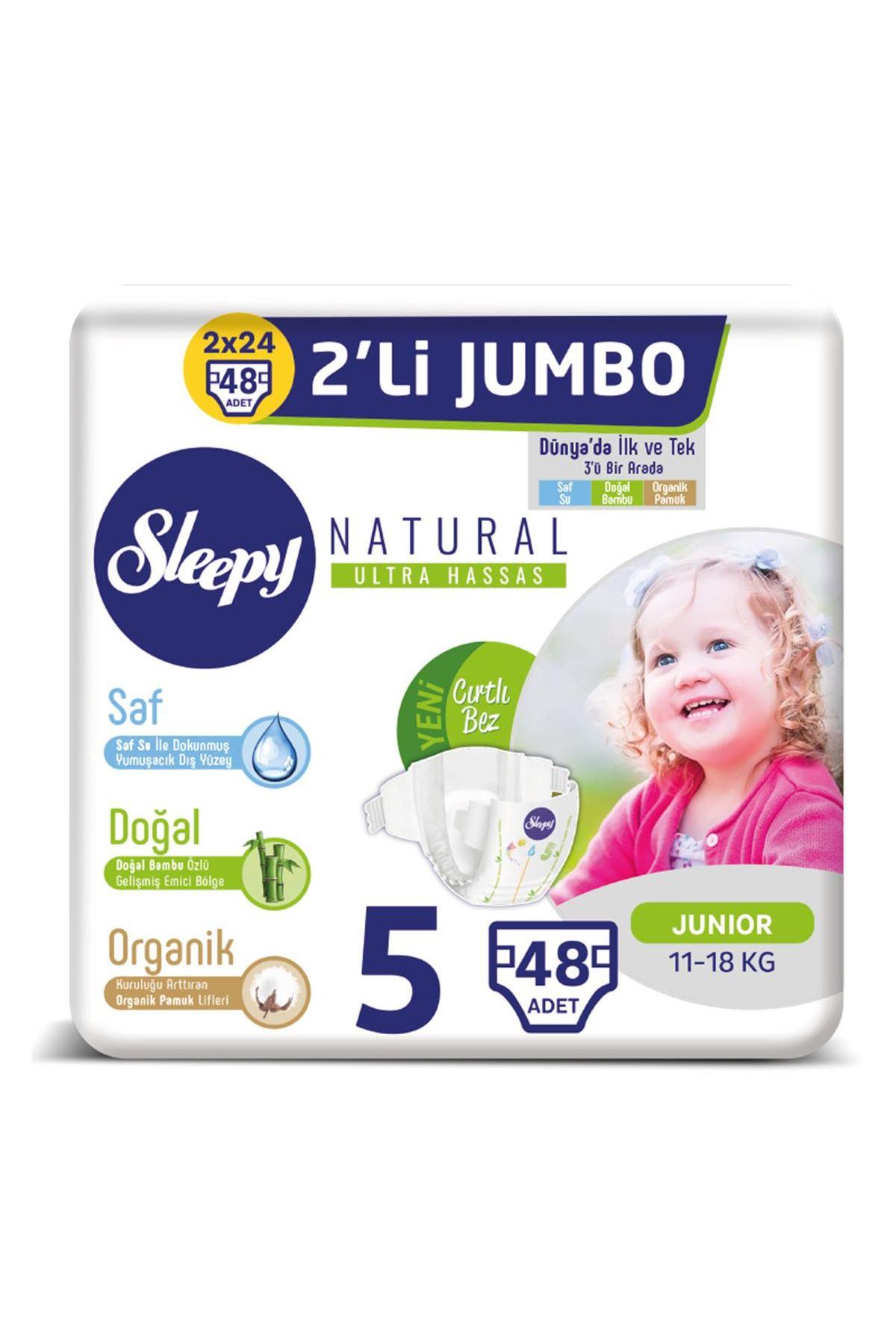 Sleepy Natural Bebek Bezi 2li Jumbo 5 Beden 11-18 Kg 48 Adet