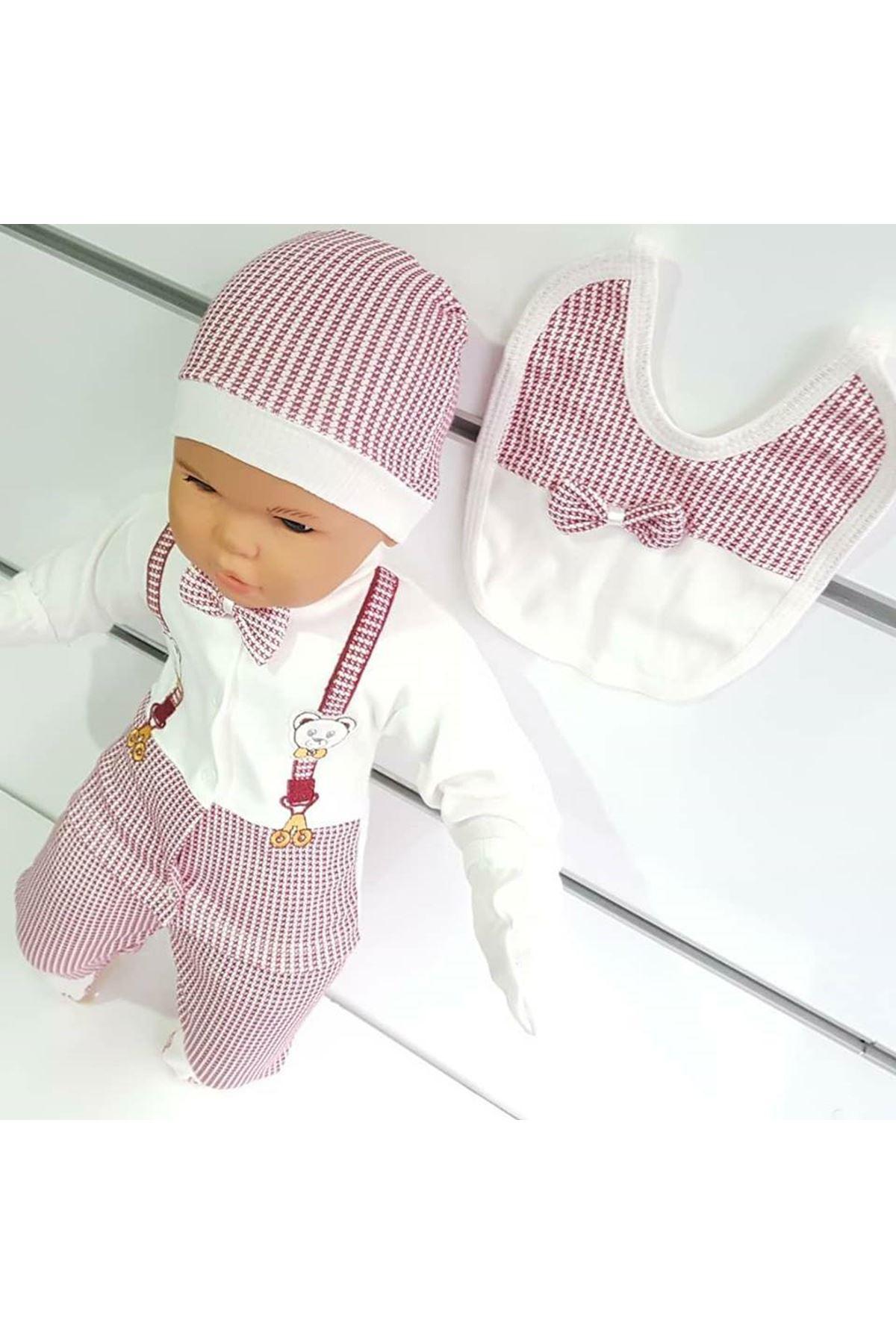 Ayıcık Askılı Papyonlu 5 li Erkek Bebek Hastane Çıkış Seti - Kırmızı