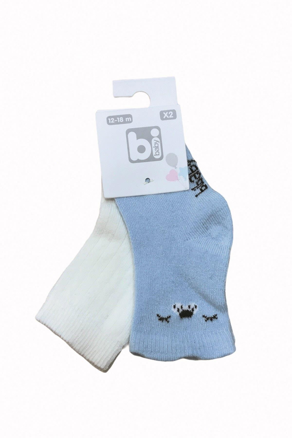 Bibaby Cute Face 2li Çorap 68342 Mavi Ekru