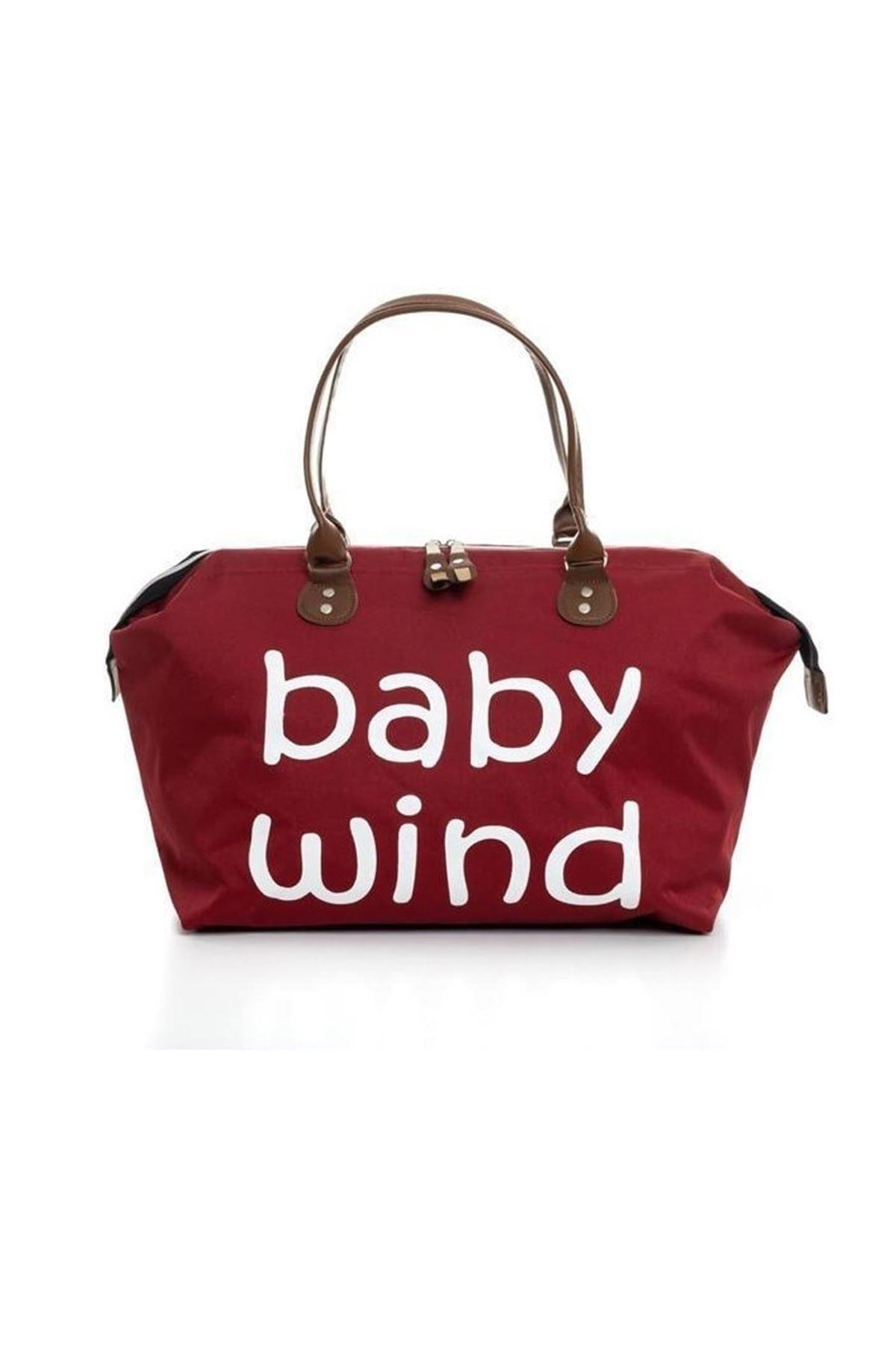 Baby Wind Baskılı Geniş Hacimli Bordo Anne Bebek Bakım Omuz Çantası