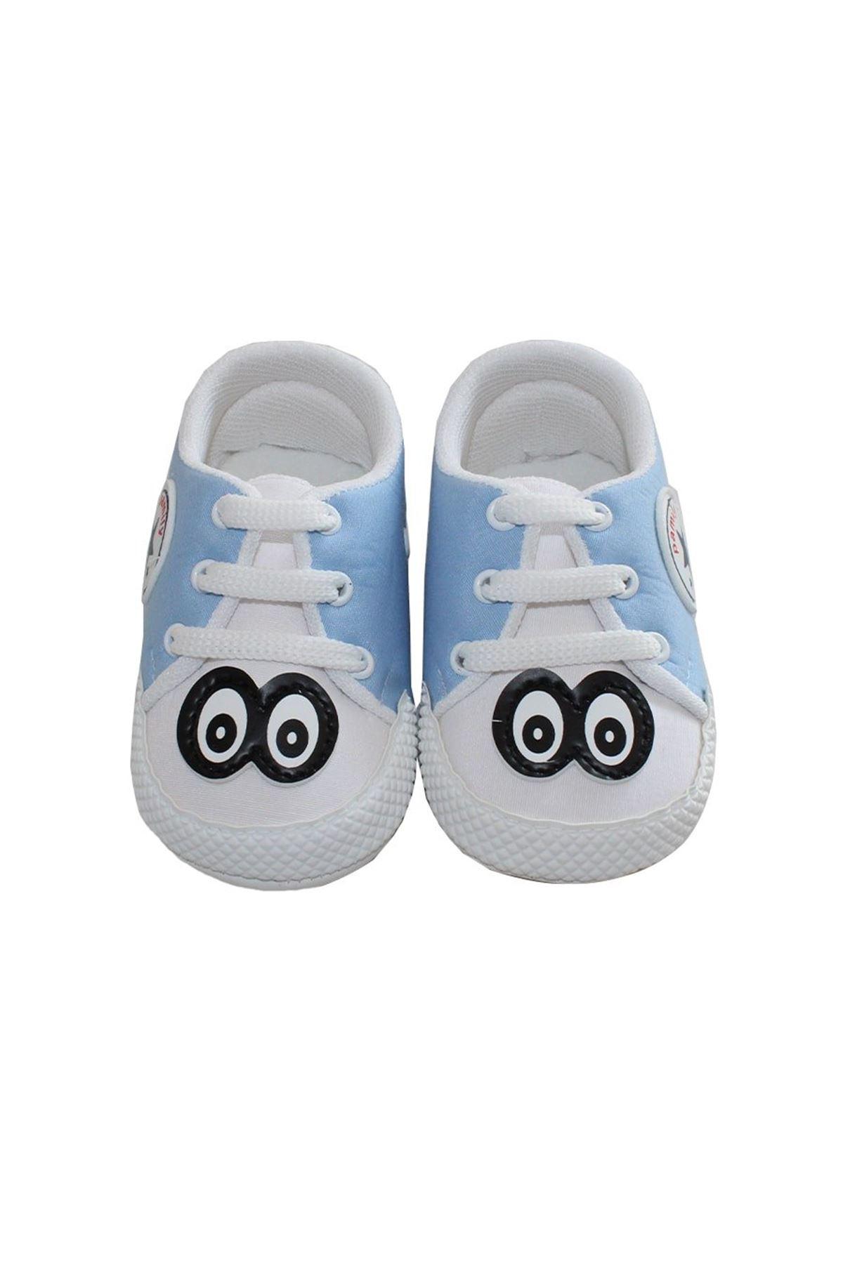Gözlü Mavi Erkek Bebek Ayakkabı