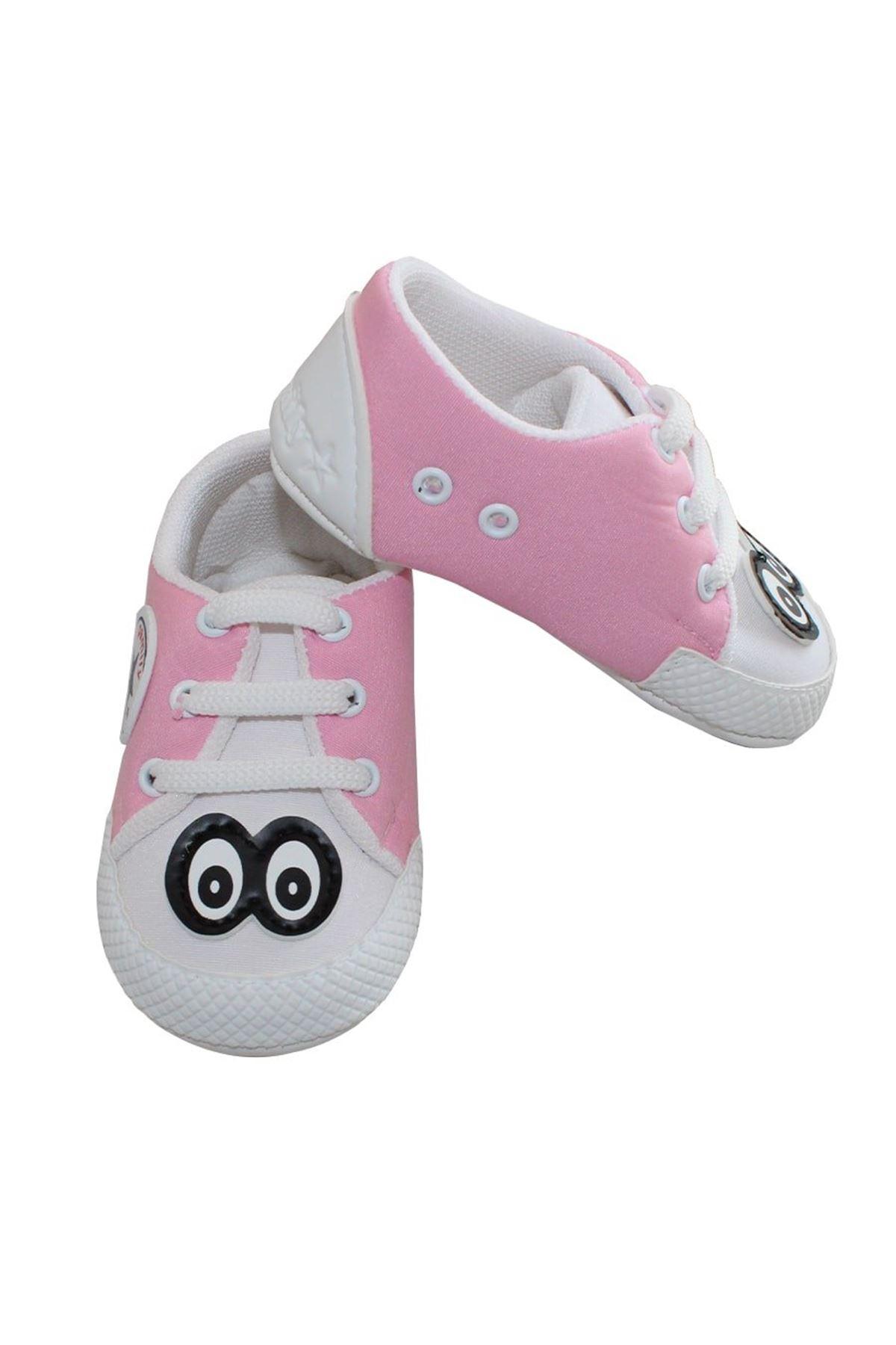Gözlü Pembe Kız Bebek Ayakkabı