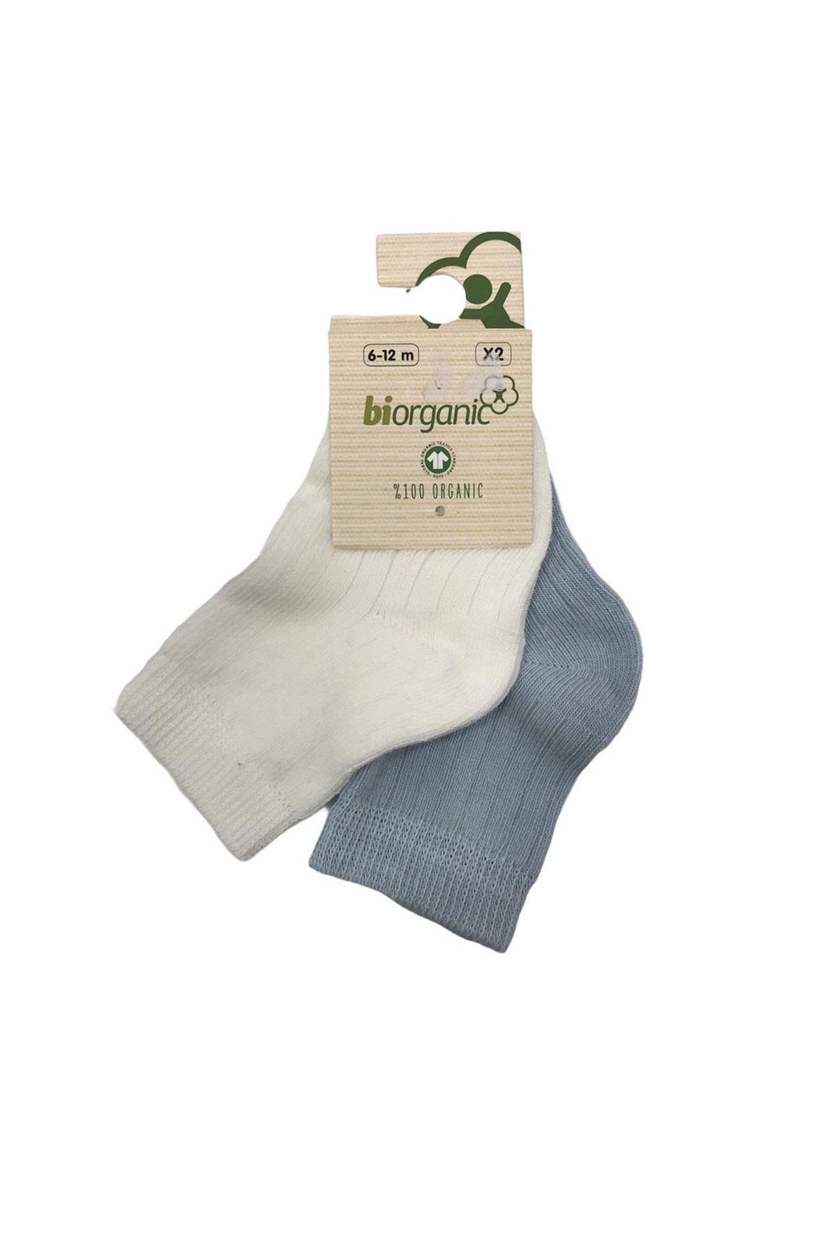 Bibaby Biorganic Desenli Basic 2li Çorap 68345 Mavi Ekru