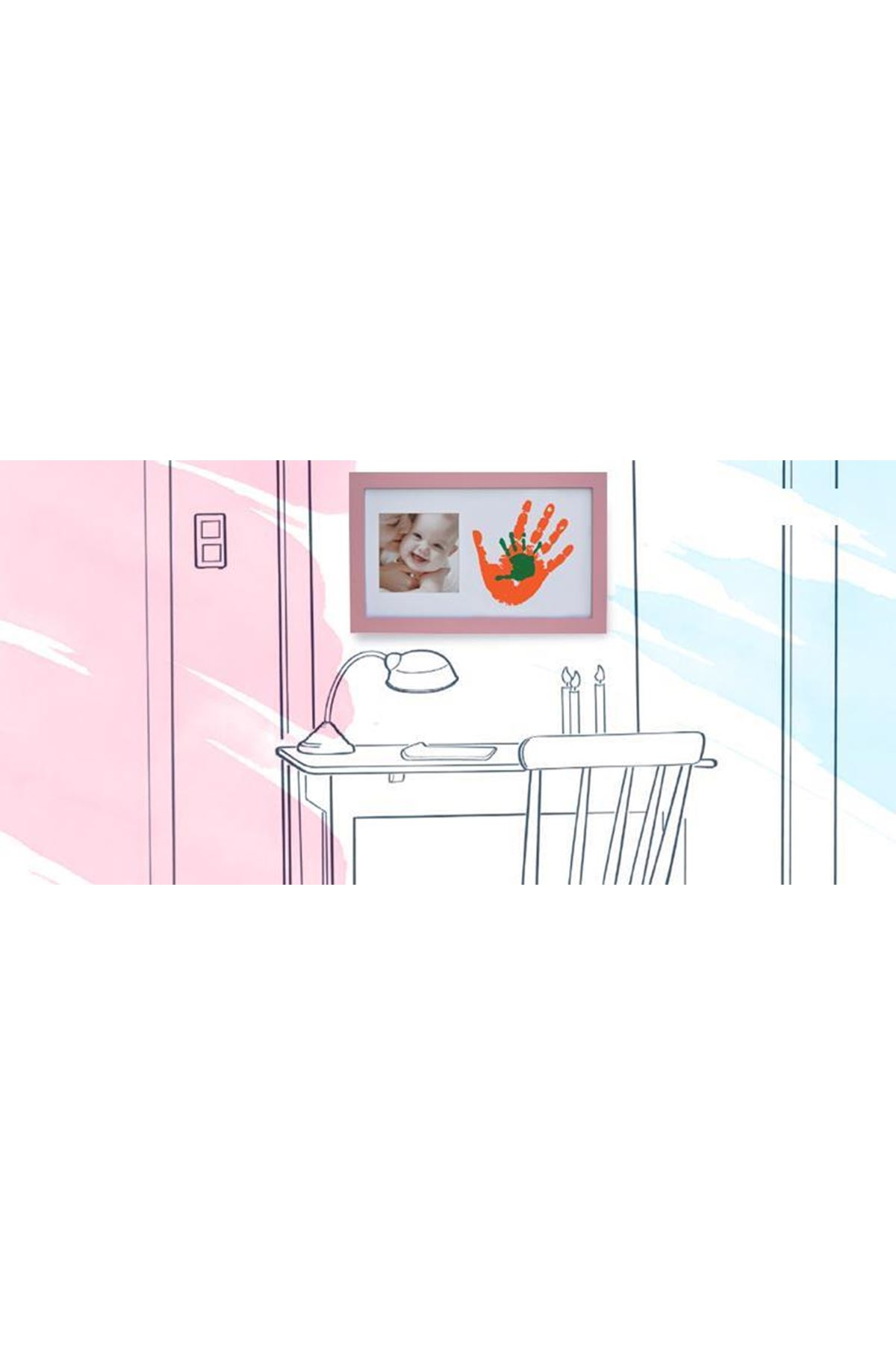 Baby Memory Prints Paint Wall Family Frame Pembe