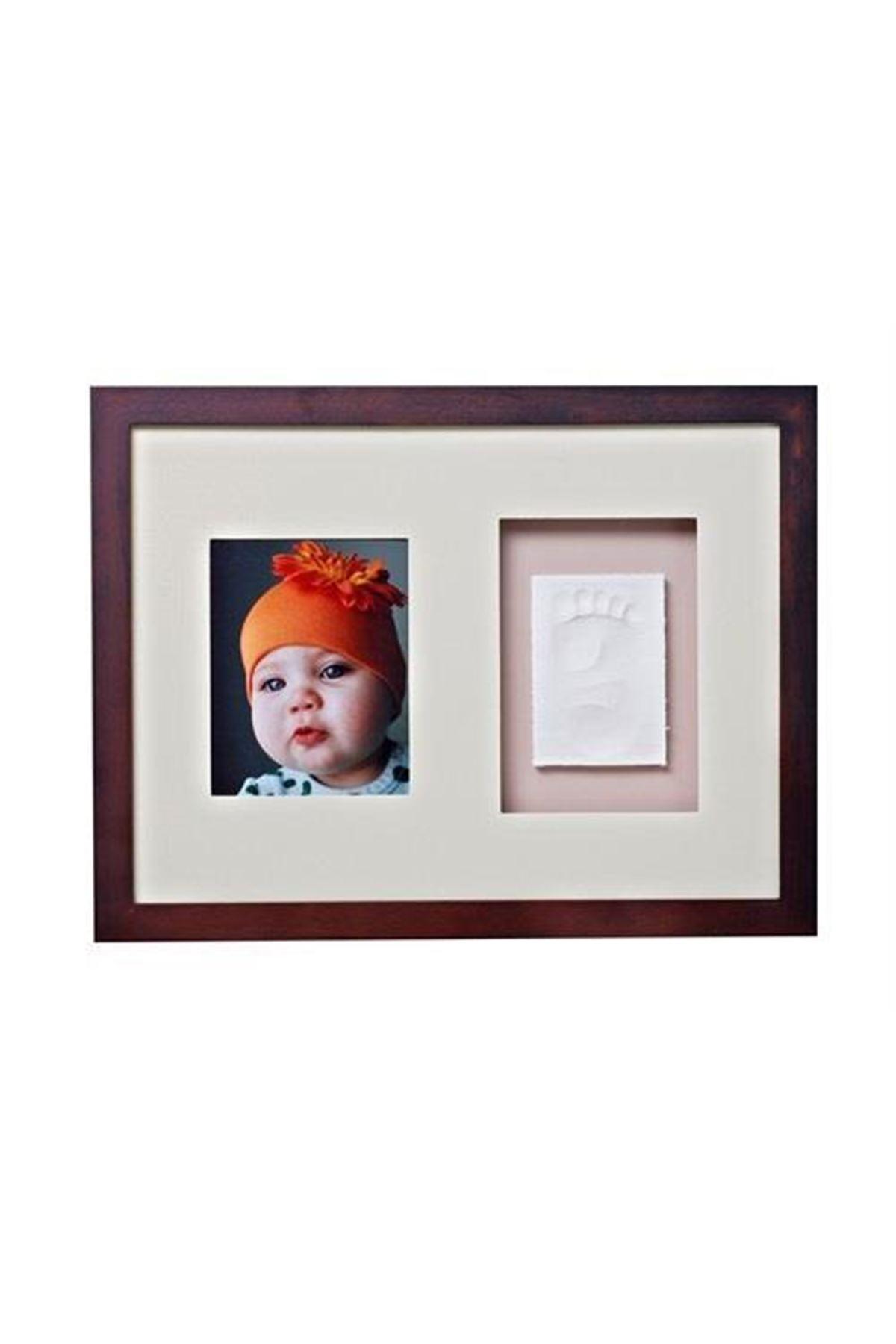 Baby Memory Prints El ve Ayak İzi Duvar Çerçevesi Ceviz