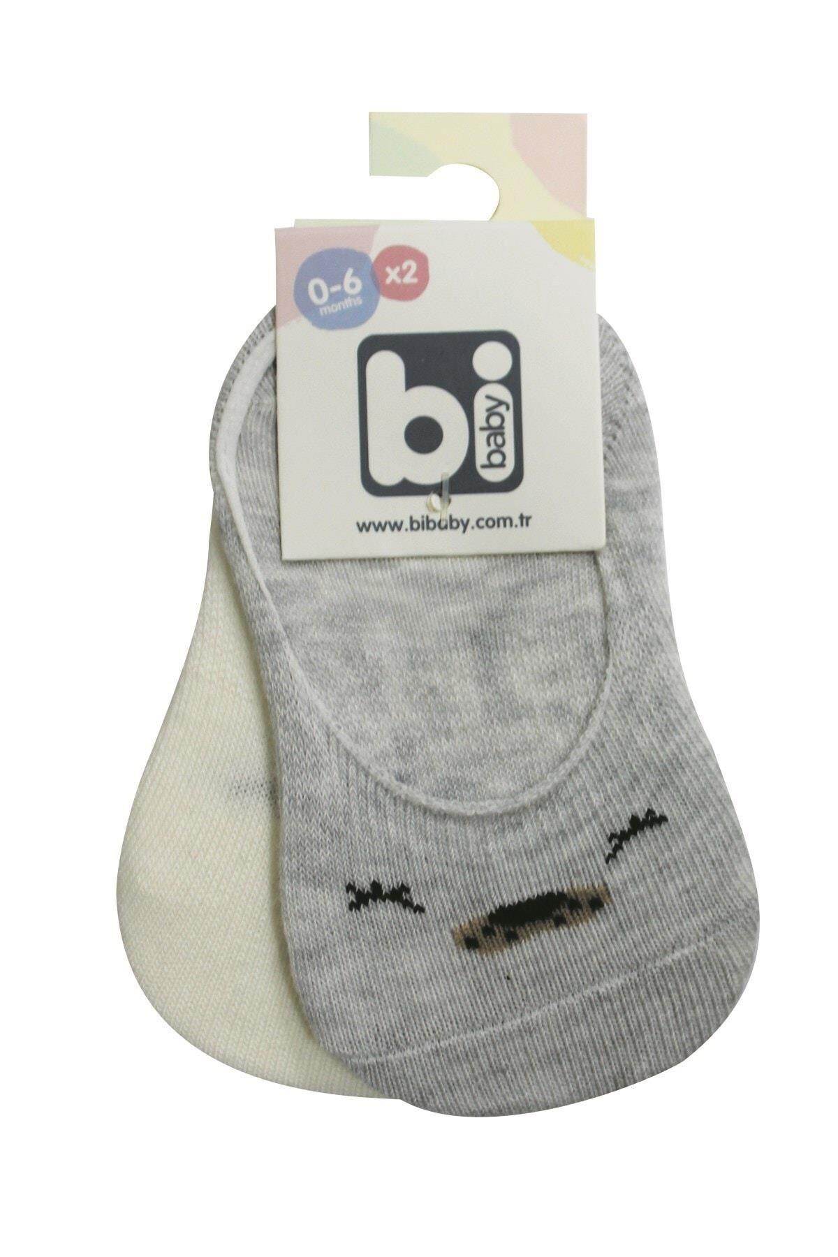 Bibaby Cute Face Erkek Babet Çorap 2Lİ 68353 Gri Ekru