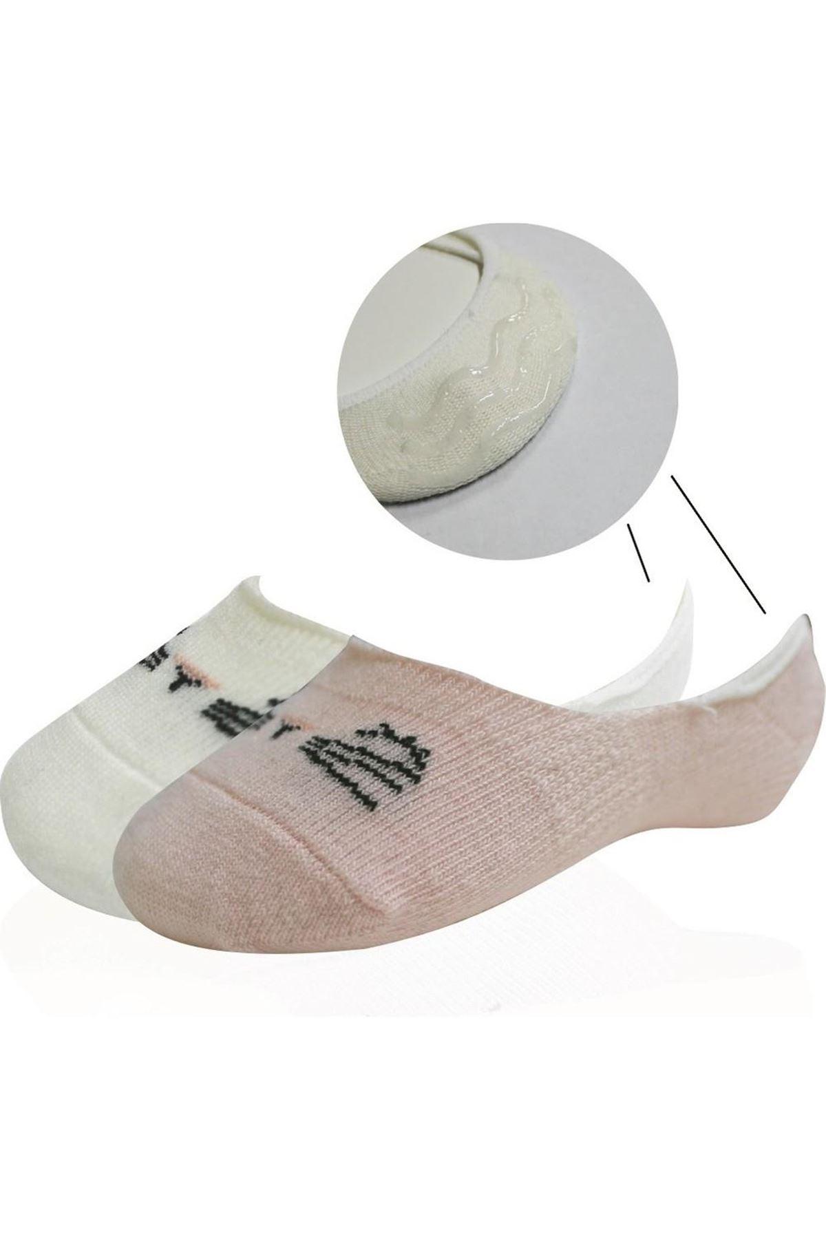 Bibaby Cute Face Kız Babet Çorap 2Lİ Pembe Ekru