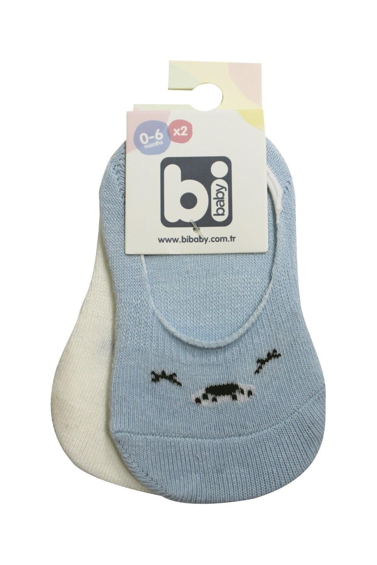 Bibaby Cute Face Erkek Babet Çorap 2Lİ 68353 Mavi Ekru