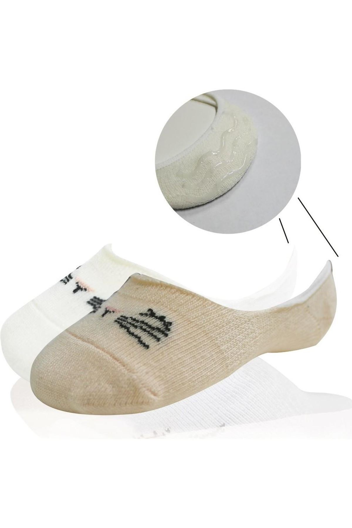 Bibaby Cute Face Kız Babet Çorap 2Lİ Somon Ekru