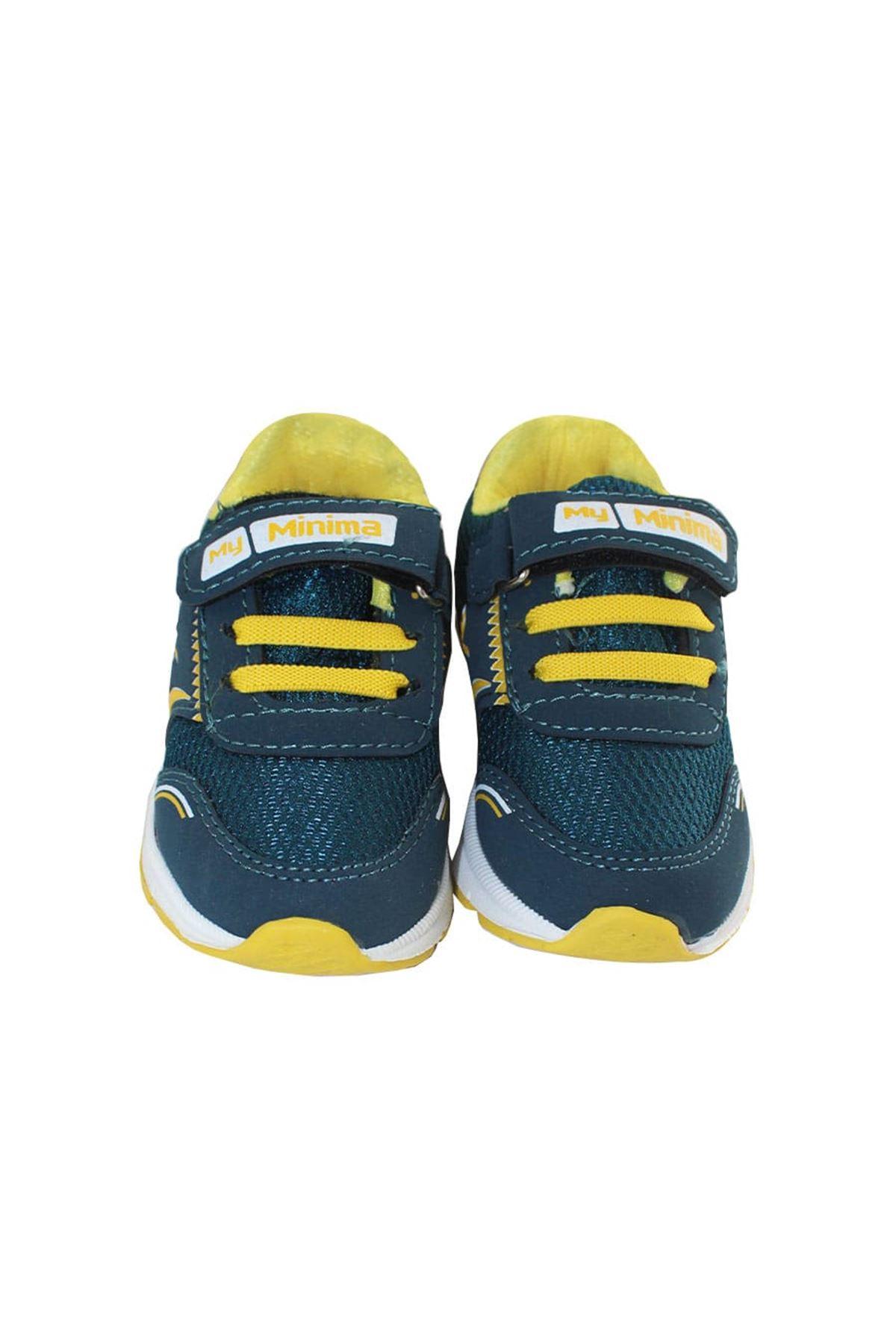 Işıklı Yeşil Sarı Cırtlı Lastikli Çocuk Yürüyüş ve Spor Ayakkabısı