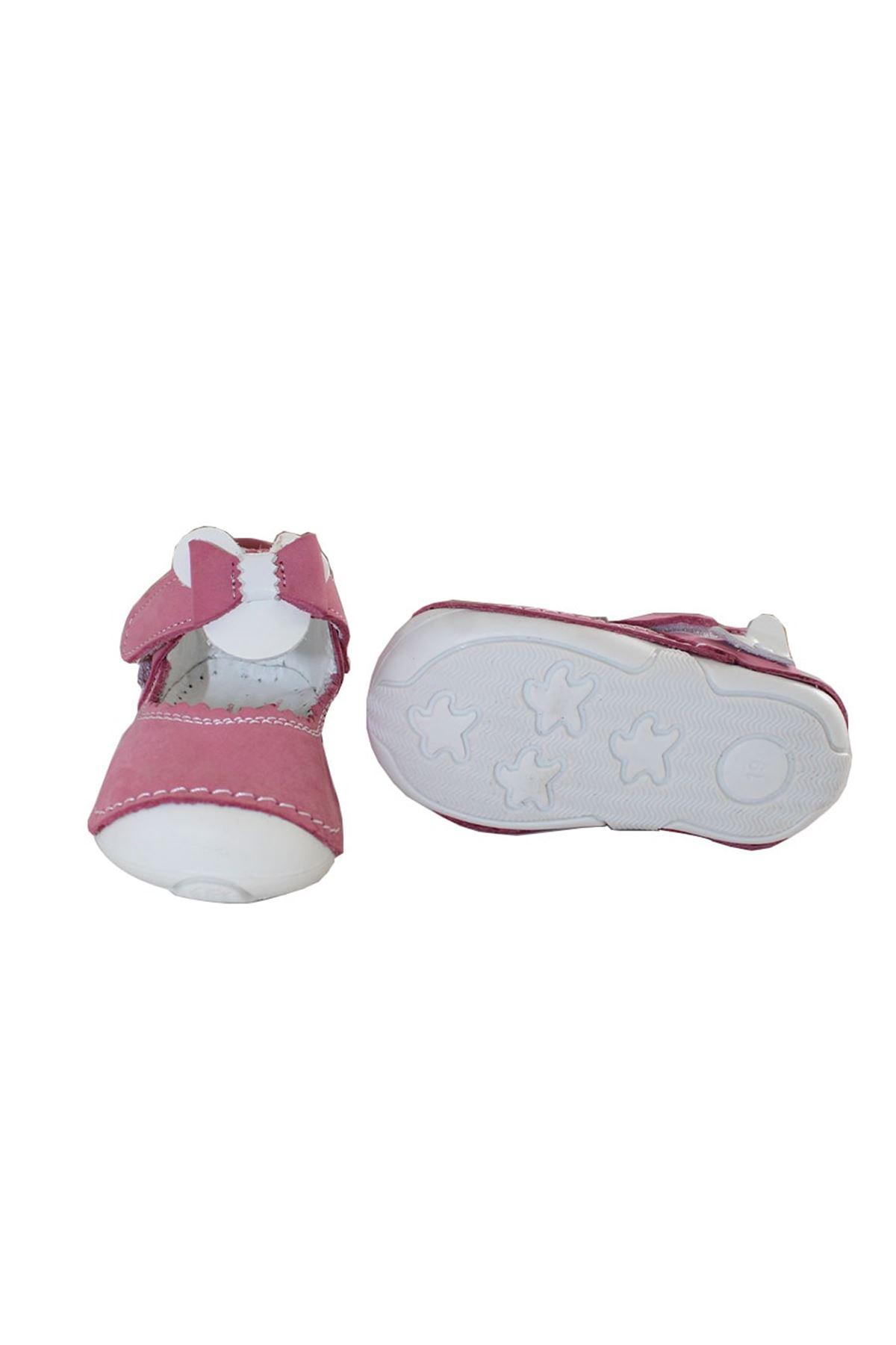 Hakiki Deri Ortopedik Yazlık Fiyonklu Pembe Kız Çocuk İlk Adım Ayakkabısı
