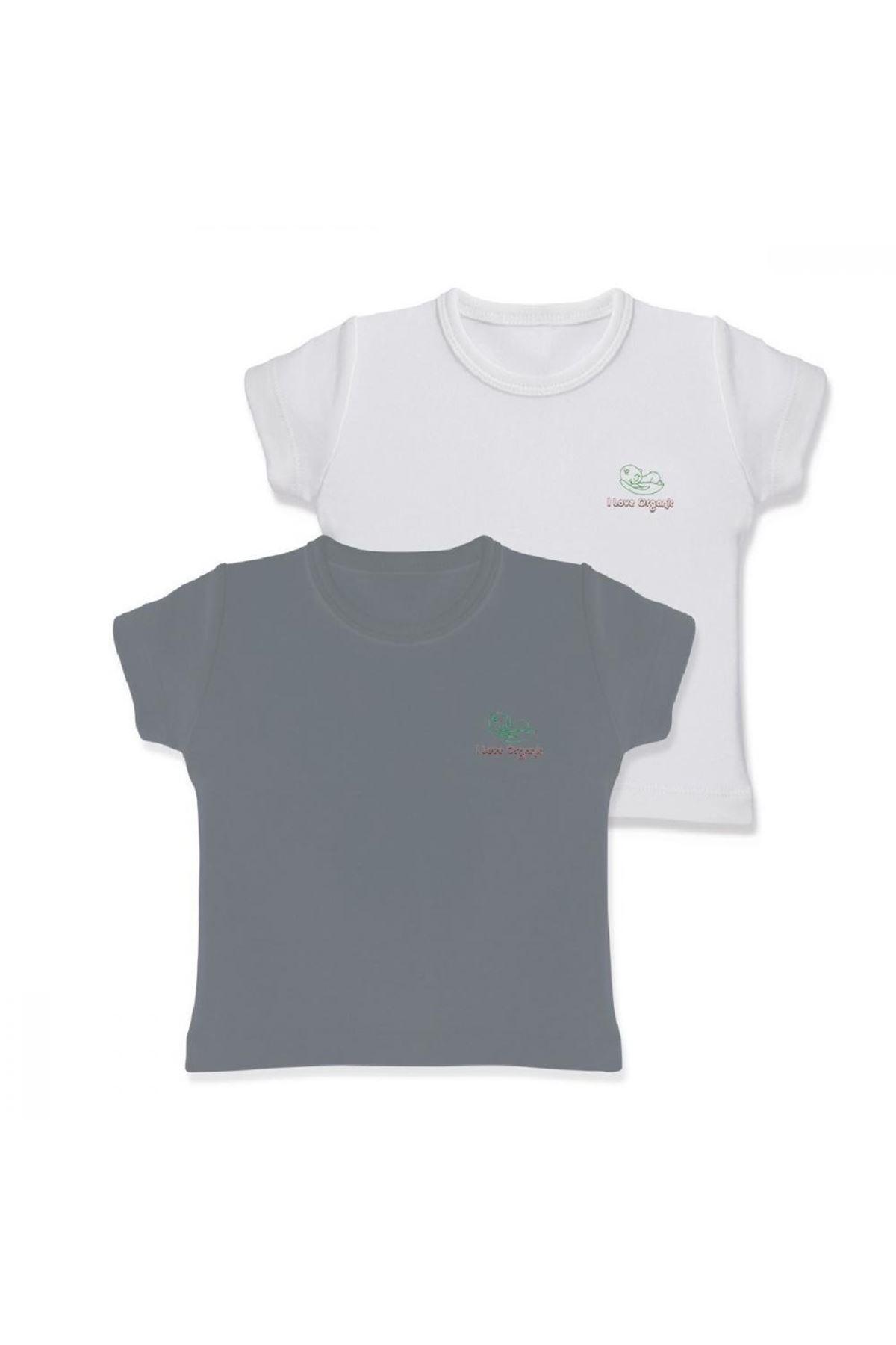 Baby Cosy Organic 2Li Bebek T-şhirt 3007 Grey White